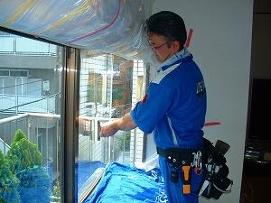 窓ガラス保護:施工状況